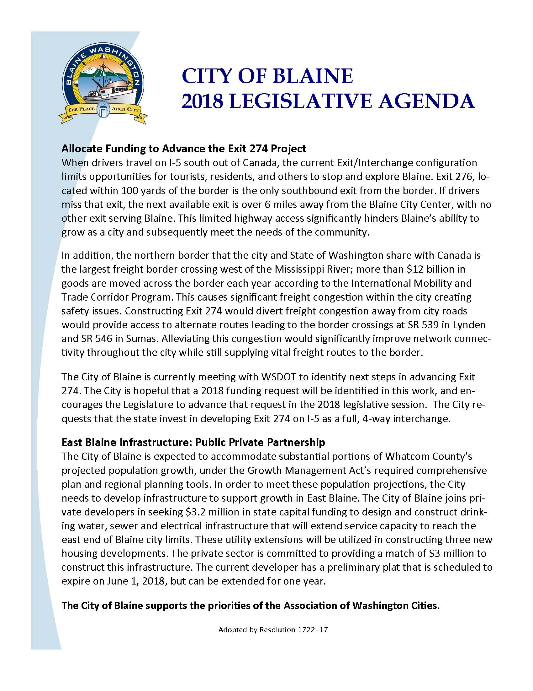 2018 Blaine Legislative Agenda